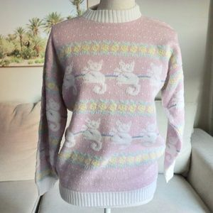 Rare Arielle vintage pastel fairykei cat sweater